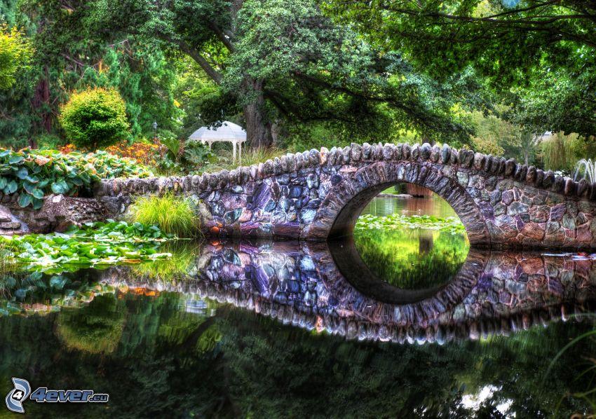 Steinbrücke, Fluss, Grün, HDR