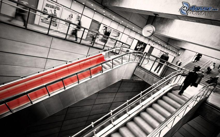 Rolltreppe, schwarzweiß