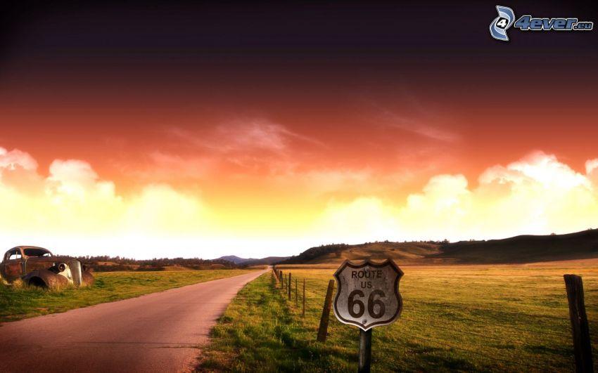 Route 66 US, Straße, Wrack