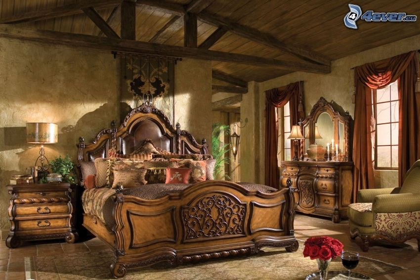Schlafzimmer, Doppelbett, HDR