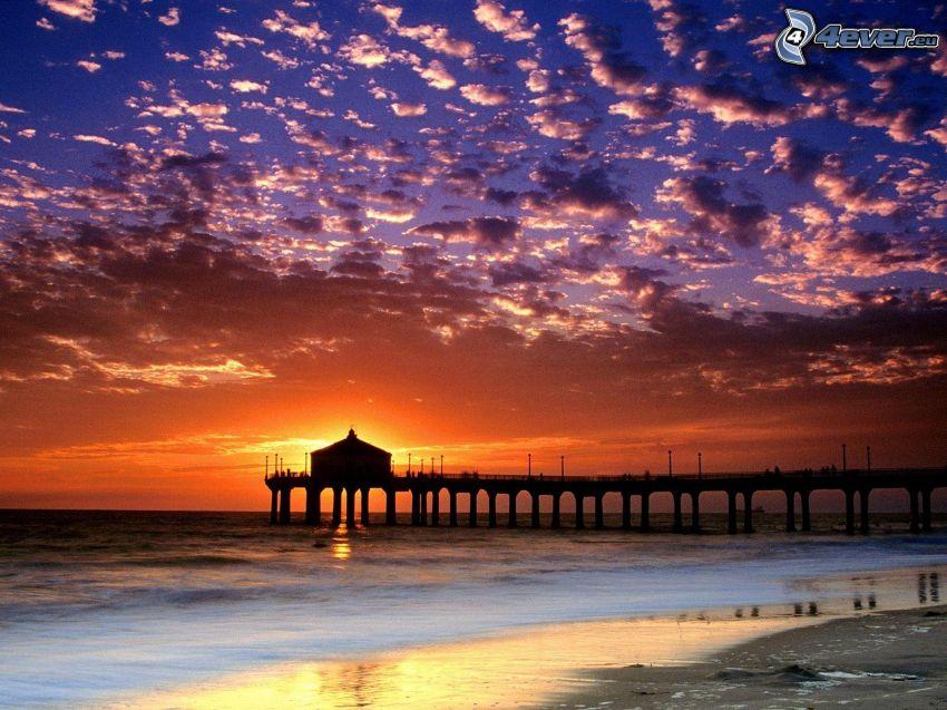 Sonnenuntergang in Santa Monica, Manhattan Beach Pier, Los Angeles