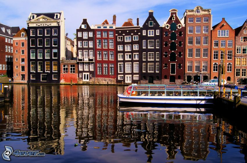 Amsterdam, reihe Häuser, Fluss, Boot