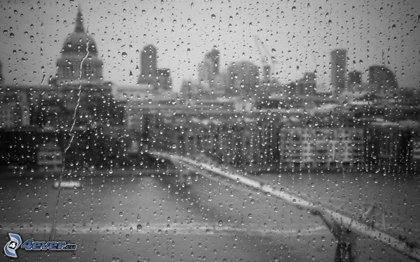 beschlagenes Glas, City, Schwarzweiß Foto