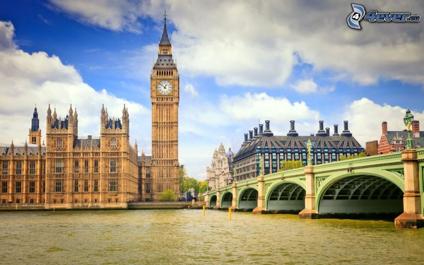 Big Ben, England, Wolken, Themse