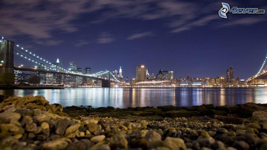 Brooklyn Bridge, Manhattan, Nachtstadt