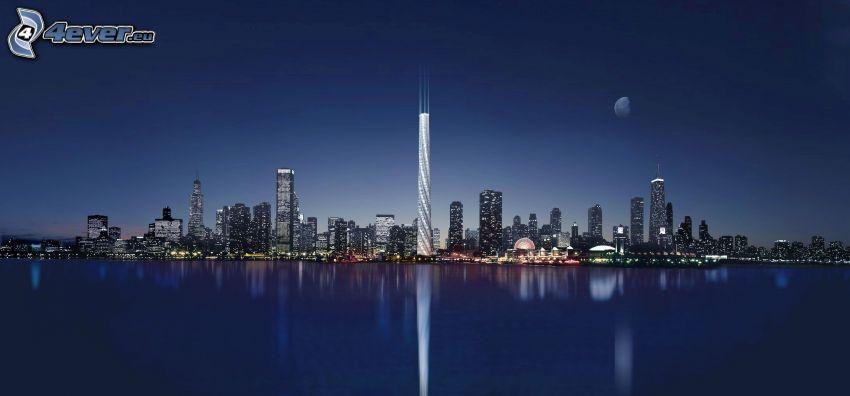 Chicago, Nachtstadt, Wolkenkratzer, Spiegelung