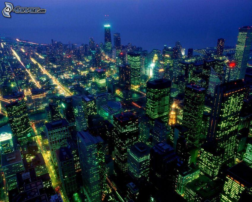 Chicago, Nachtstadt, Wolkenkratzer