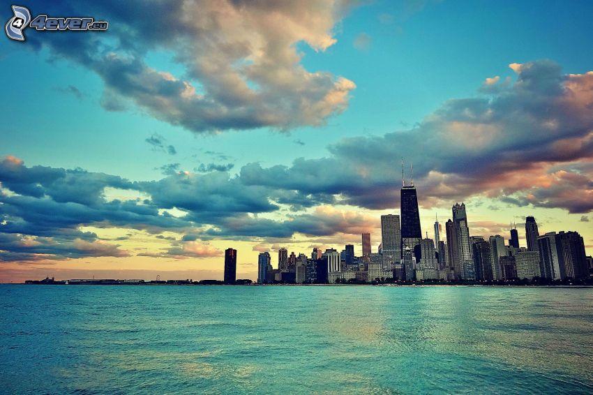 Chicago, Wolkenkratzer, Meer, Wolken