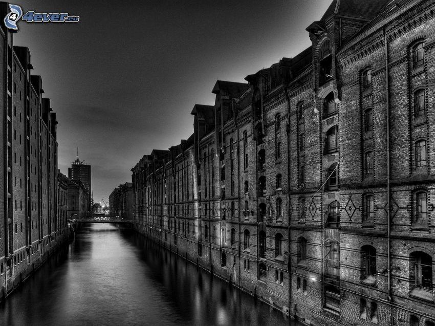 City, Fluss, Schwarzweiß Foto