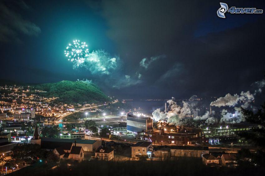 Corner Brook, Kanada, Nachtstadt, Feuerwerk