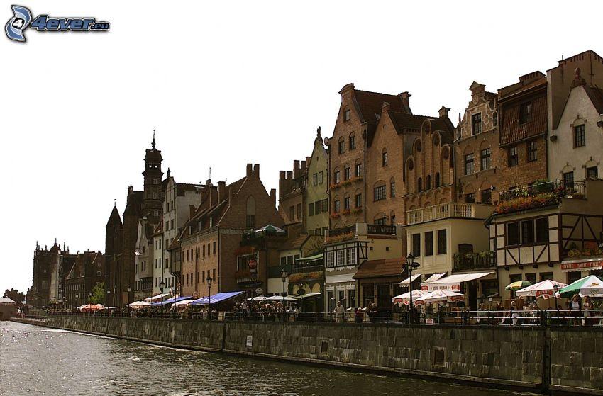 Danzig, Polen, Häuser, Fluss