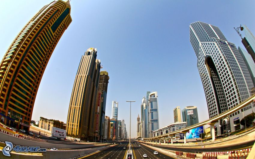 Dubai, Wolkenkratzer, Autobahn