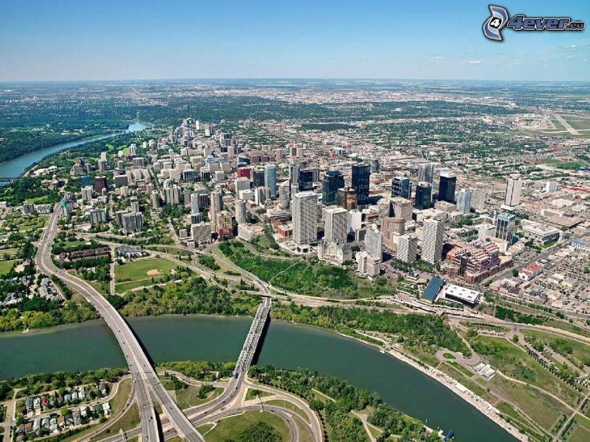 Edmonton, Wolkenkratzer, Fluss