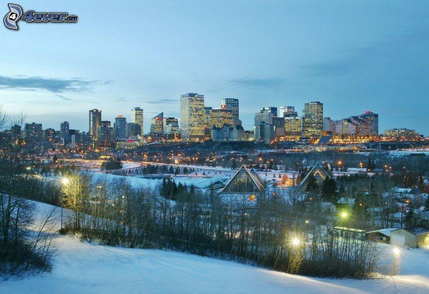 Edmonton, Wolkenkratzer, Schnee