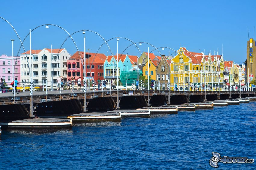farbige Häuser, Pier, Curaçao