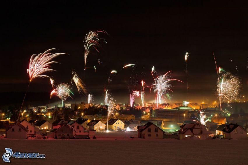 Feuerwerk, Dorf, Nacht