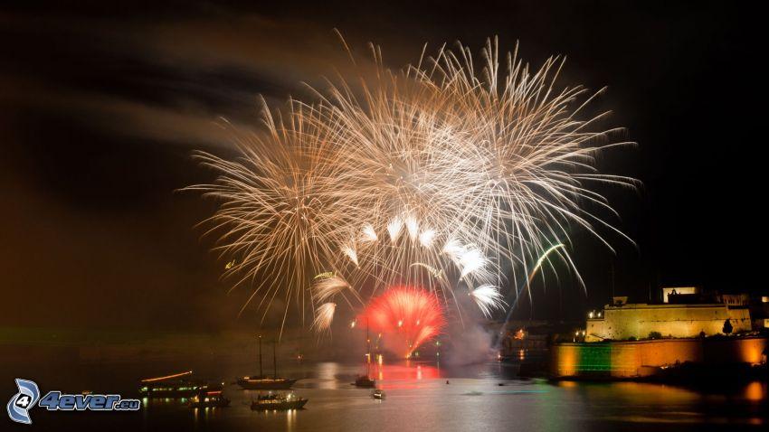 Feuerwerk, Hafen, Nacht