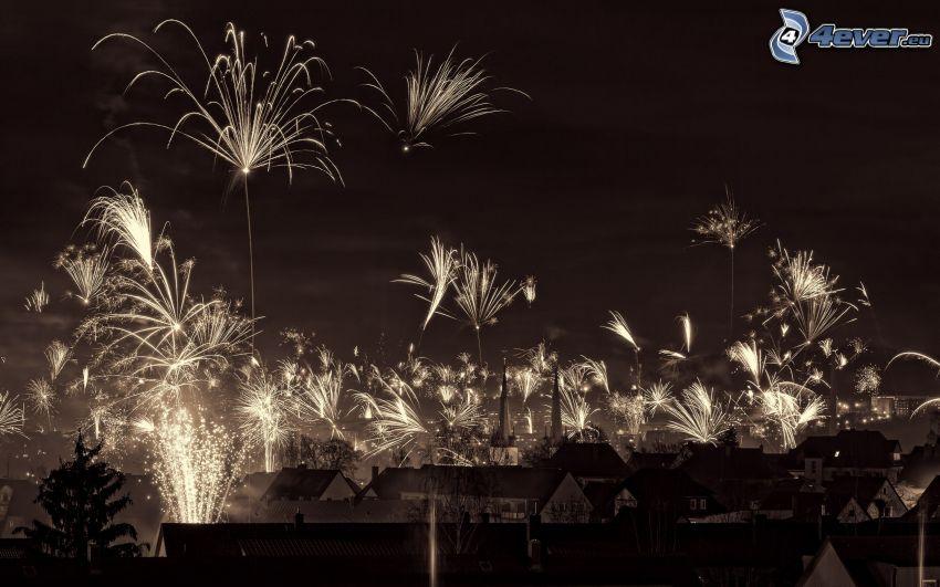 Feuerwerk über der Stadt, Nachtstadt