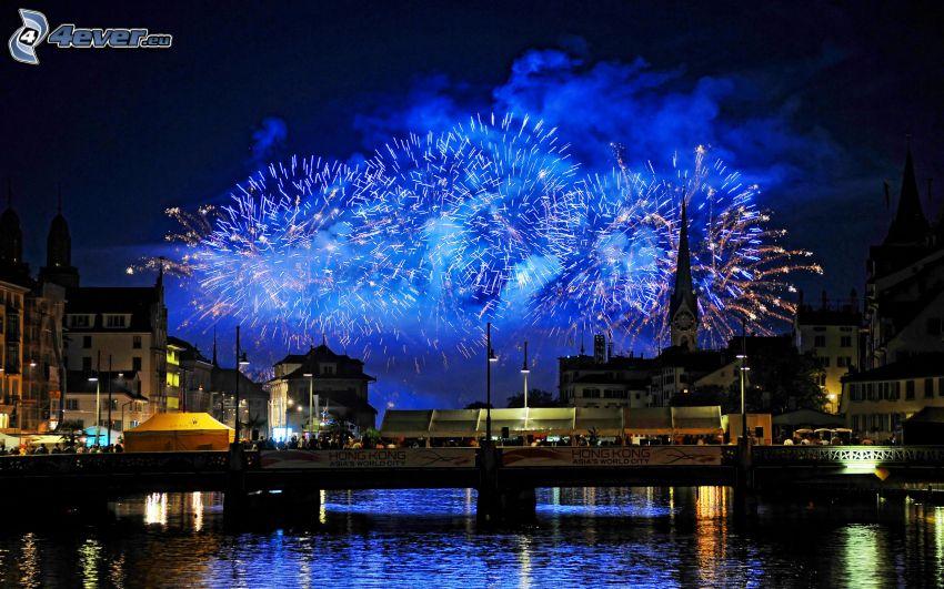 Feuerwerk über der Stadt, Neujahr