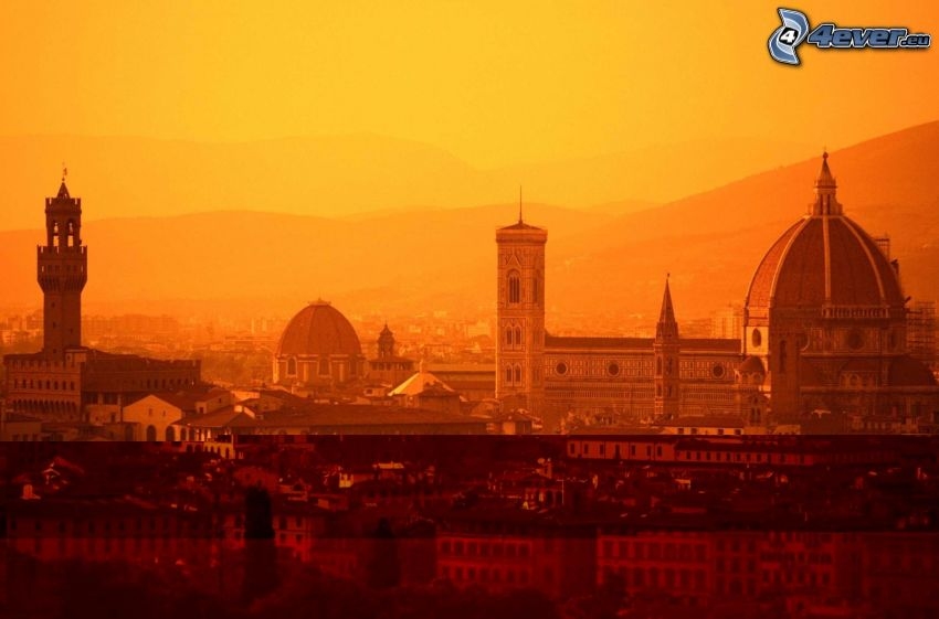 Florenz, orange Sonnenuntergang