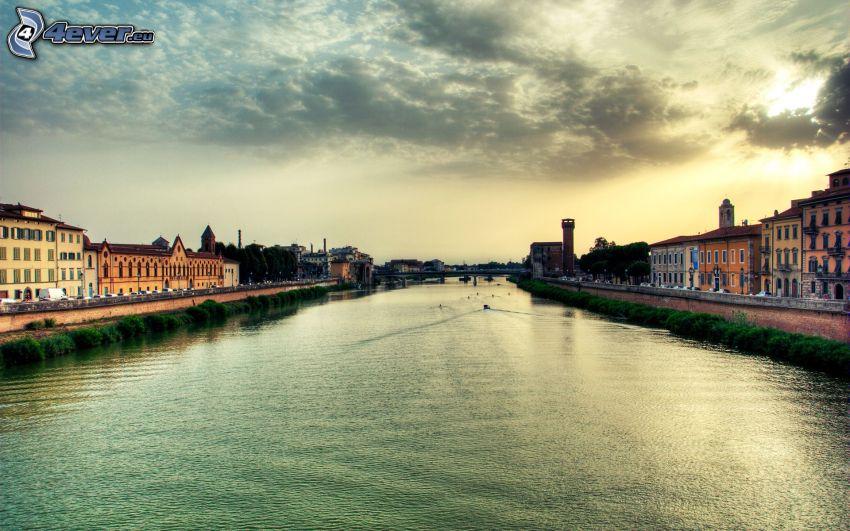 Fluss, City, Himmel, Sonne, HDR