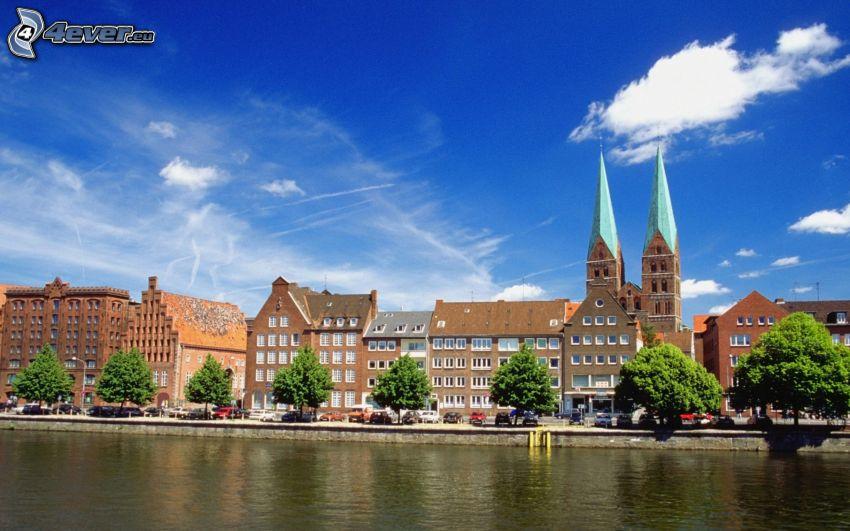 Fluss, Häuser, Deutschland