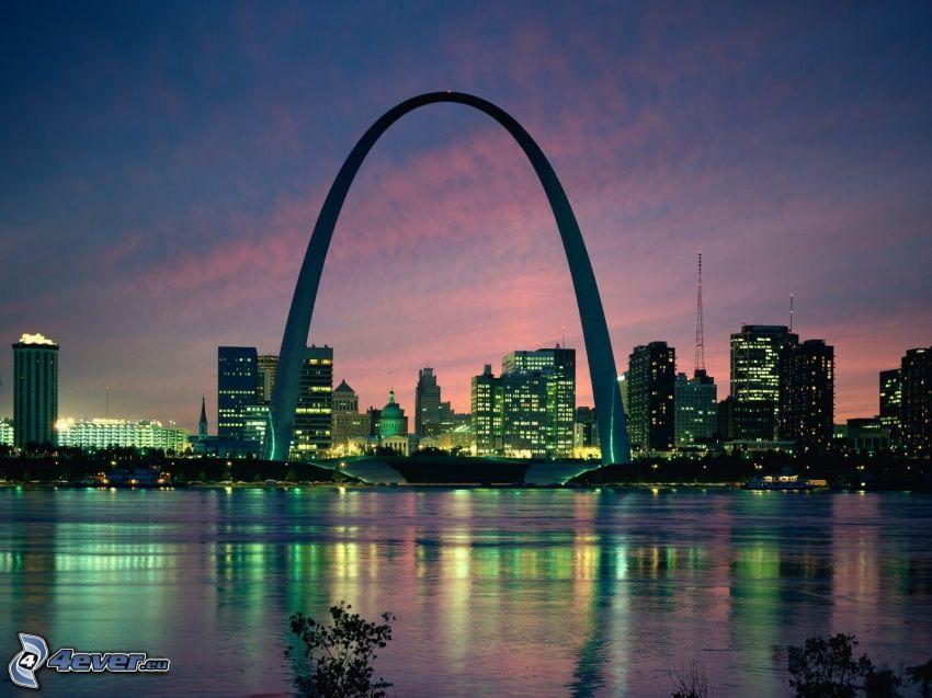 Gateway Arch, St. Louis, Missouri, Nachtstadt