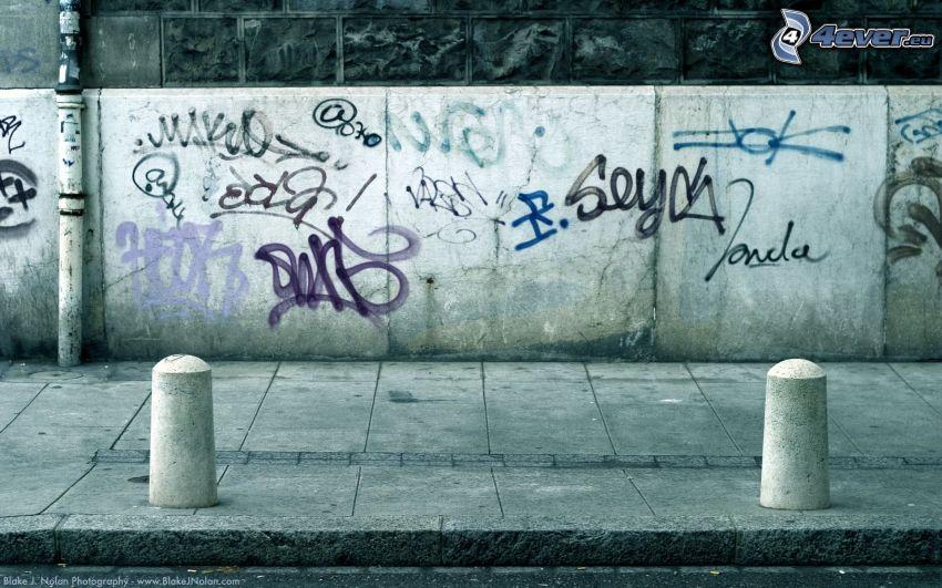 Gehweg, Graffiti