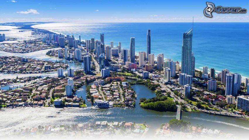 Gold Coast, Wolkenkratzer, offenes Meer