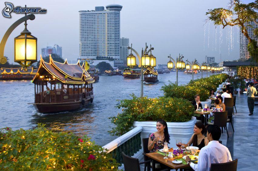 Hafen, Abend, Menschen, Straßenlampen