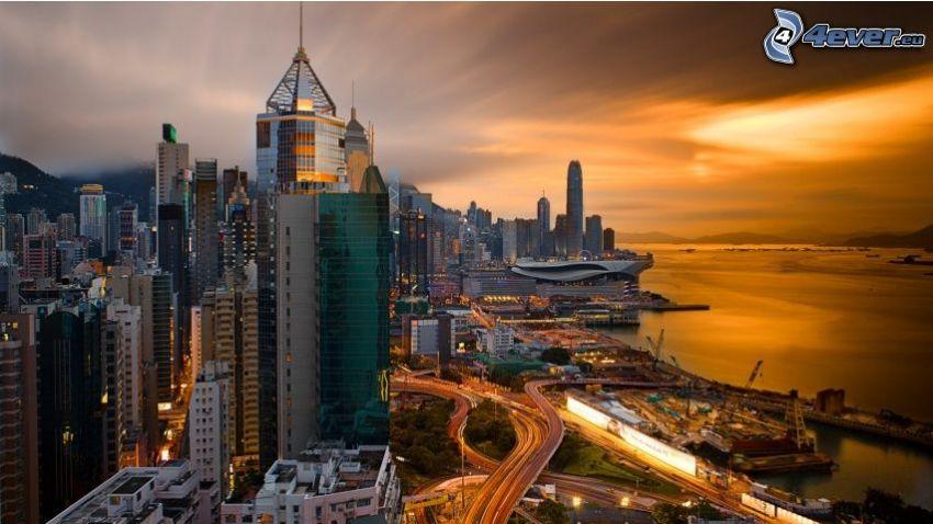 Hong Kong, abendliche Stadt
