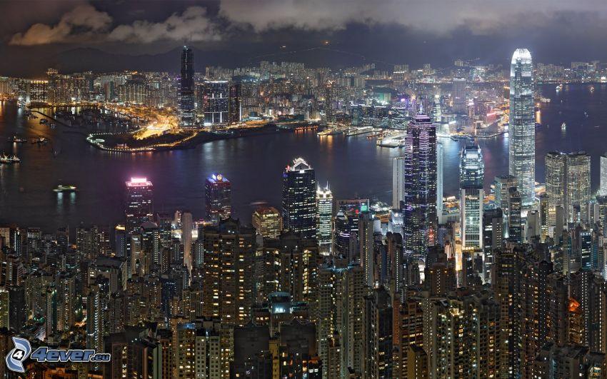 Hong Kong, Wolkenkratzer, Nachtstadt