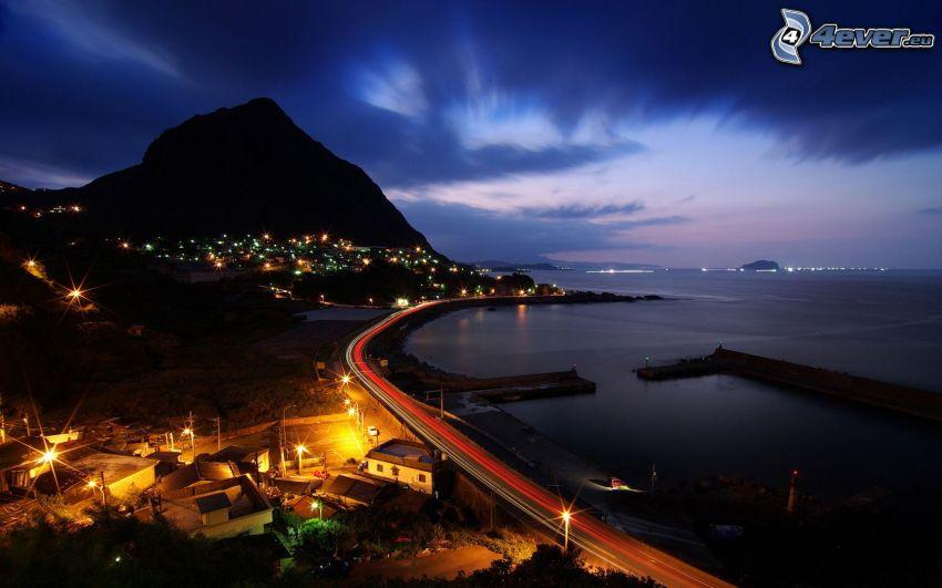 Island, nacht-Autobahn, Meer