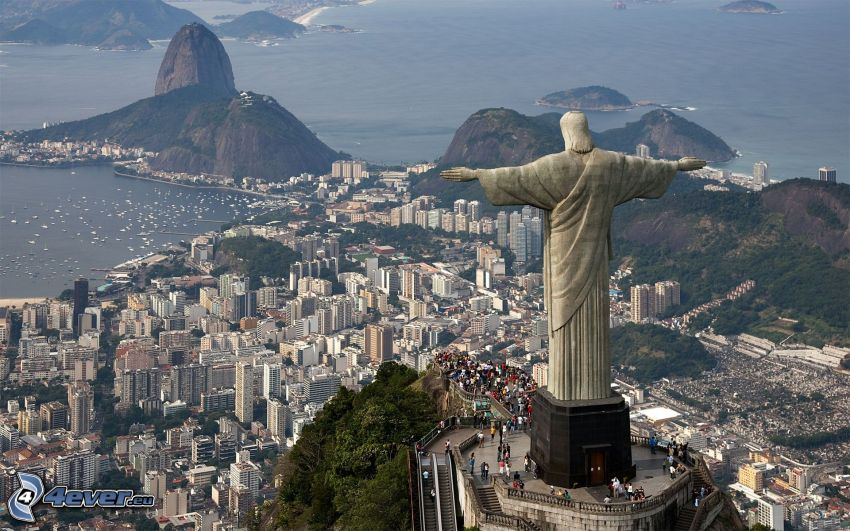 Jesus in Rio de Janeiro, Rio De Janeiro, Blick auf die Stadt