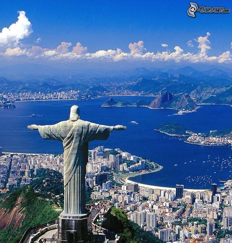 Jesus in Rio de Janeiro, Rio De Janeiro, Brasilien, Statue, Blick auf die Stadt, Meer