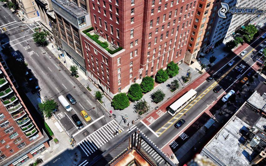 Kreuzung, Gebäude, Straßen