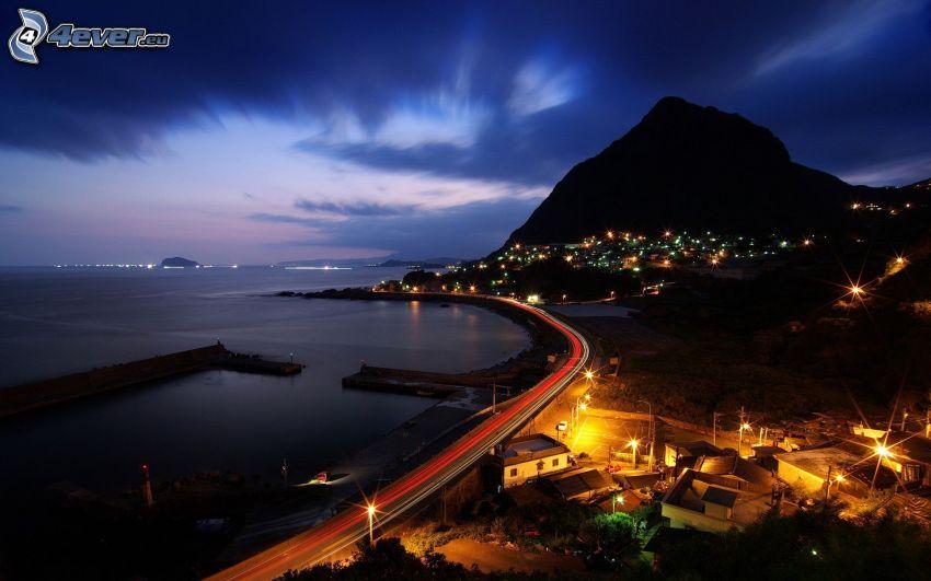 Küste, nacht-Autobahn, Lichter, Berg, Brasilien
