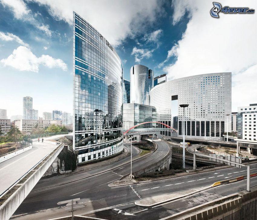 La Défense, Wolkenkratzer, Autobahnkreuz, Paris