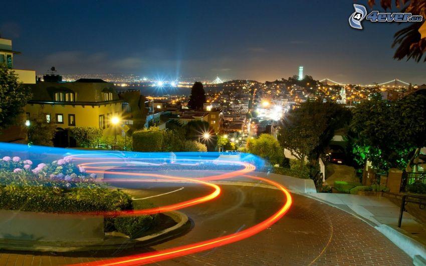 Lombard Street, San Francisco, Nachtstadt, Straße