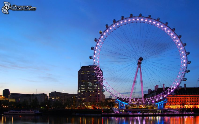 London Eye, London, abendliche Stadt