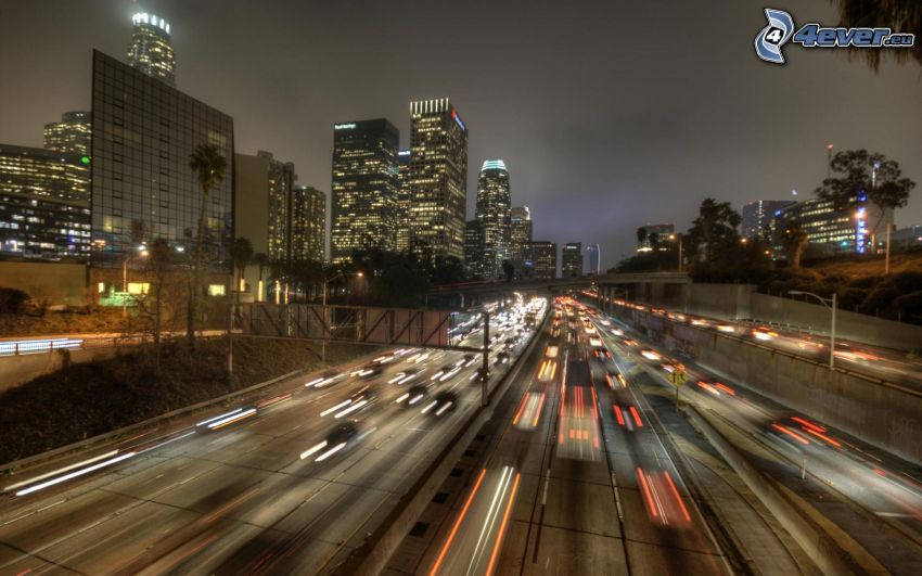 Los Angeles, abend Autobahn
