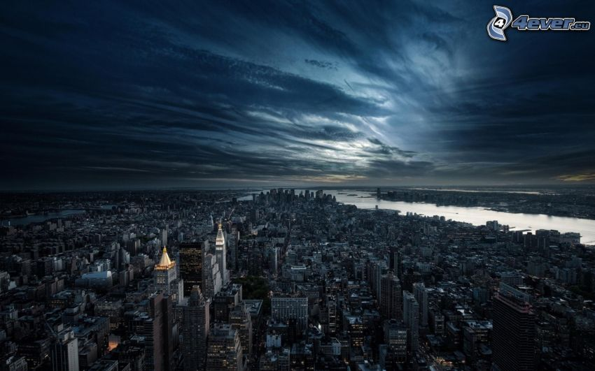 Manhattan, New York, Nachtstadt, HDR