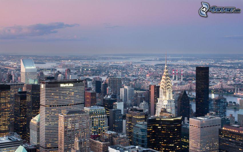Manhattan, Wolkenkratzer, abendliche Stadt