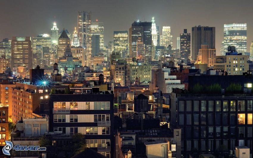 Manhattan, Wolkenkratzer, Nachtstadt