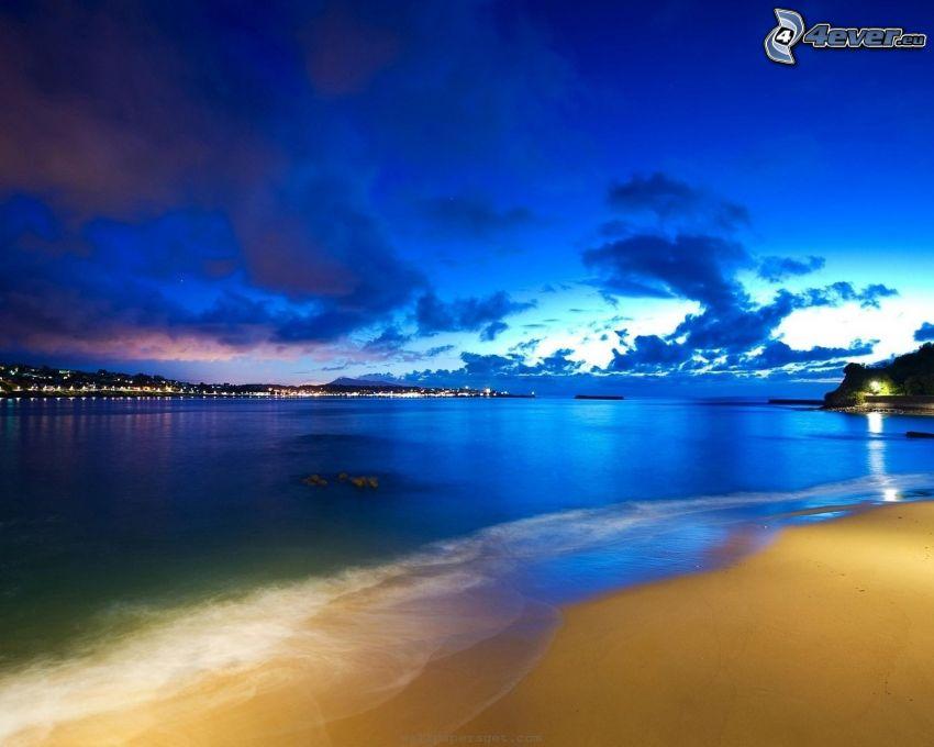 Meer, Strand, Küstenstadt, Nacht