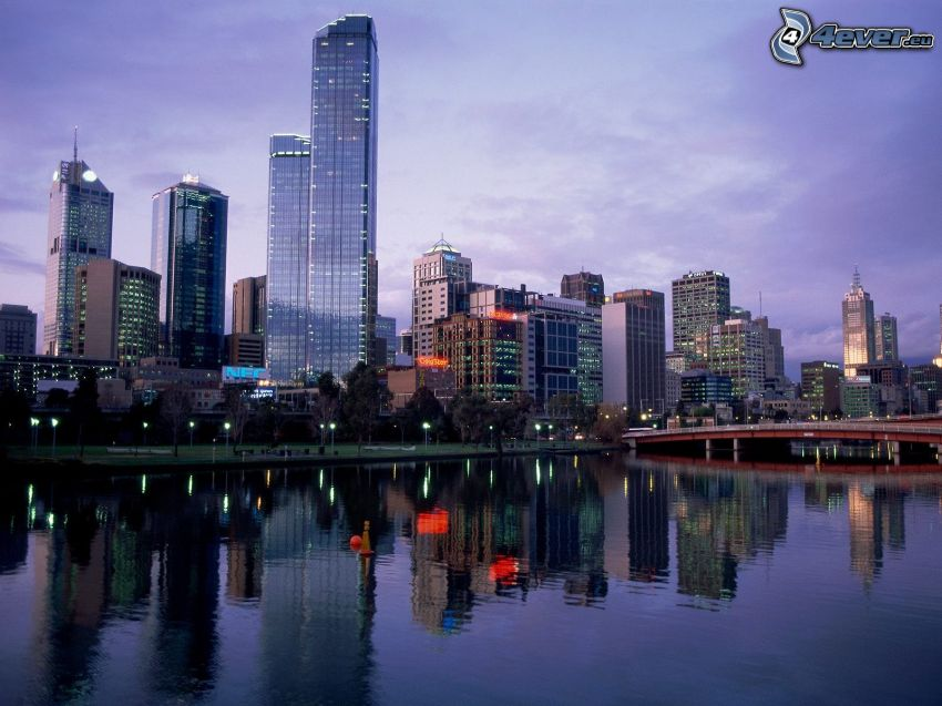 Melbourne, Wolkenkratzer, Fluss