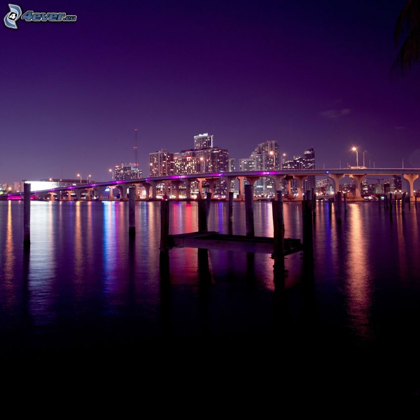 Miami, lila Himmel, Nacht, Brücke, Wolkenkratzer