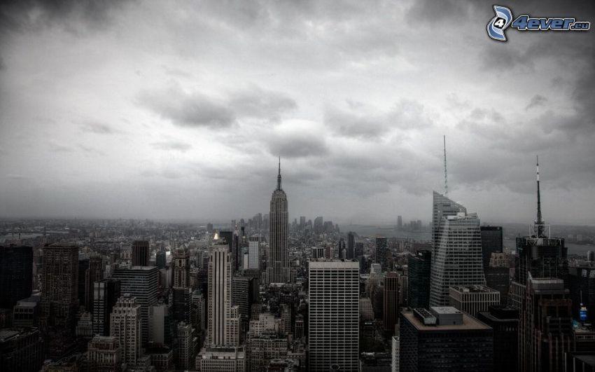 New York, Blick auf die Stadt, Empire State Building, Schwarzweiß Foto