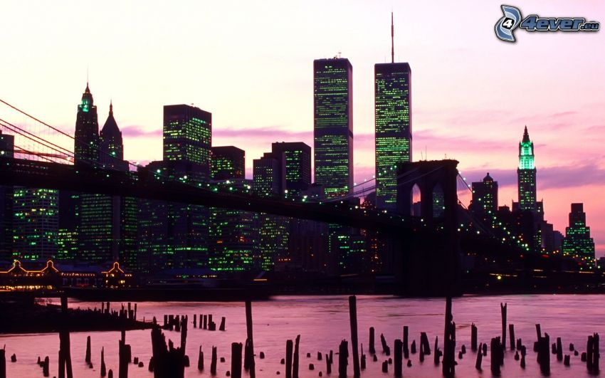 New York, Brooklyn Bridge, World Trade Center, abendliche Stadt, lila Himmel