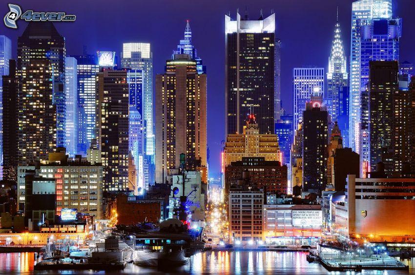 New York in der Nacht, Wolkenkratzer